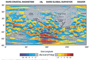 Карта локальных магнитных аномалий Марса. Отчетливо видна пятнисто-мозаичная картина распределения этих аномалий. Изображение NASA