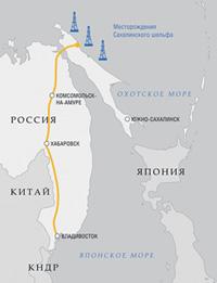 Действующий газопровод обеспечивает топливом часть жителей Дальнего Востока.Карта с сайта www.gazprom.ru