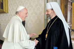 Папа Франциск принял Архиепископа Святослава Шевчука вскоре после смены власти в Киеве.Фото с официального сайта УГКЦ