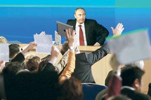 На декабрьской пресс-конференции Владимир Путин провел «разминку» перед прямой линией. Фото Reuters