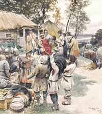 Отдавать дань еще раз древляне откажутся.Клавдий Лебедев. Князь Игорь собирает дань с древлян в 945 году.1901–1908