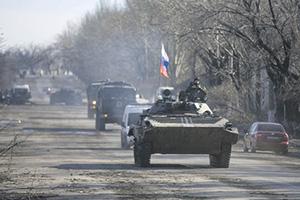 Типичная картинка: боевая машина донецких сепаратистов – с российским флагом.Фото Reuters