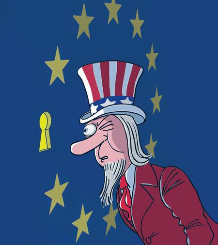 США следят за нами через призму Евросоюза. Карикатура © РИА Новости