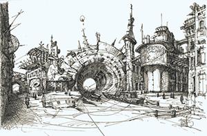 Фантазия Сергея Эстрина легко совмещает дом и мост в одном объекте.Фото пресс-службы галереи А3