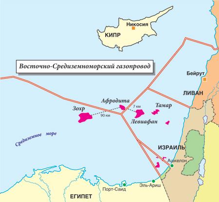 Газовые месторождения и газопроводы Средиземного моря.   Карта подготовлена Михаилом Митиным