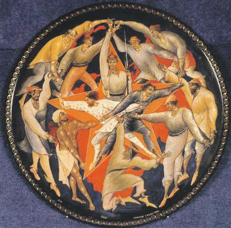 Аллегорическое представление III Интернационала. Иван Голиков. Палехская миниатюра, 1927
